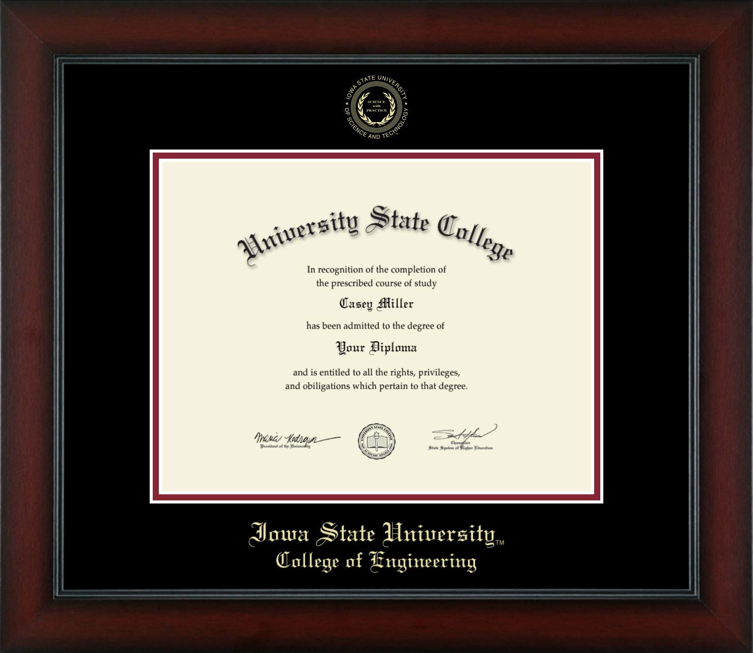 Iowa State University College of Engineering - Officially Licensed - Gold Embossed Diploma Frame - Diploma Size 11'' x 8.5''