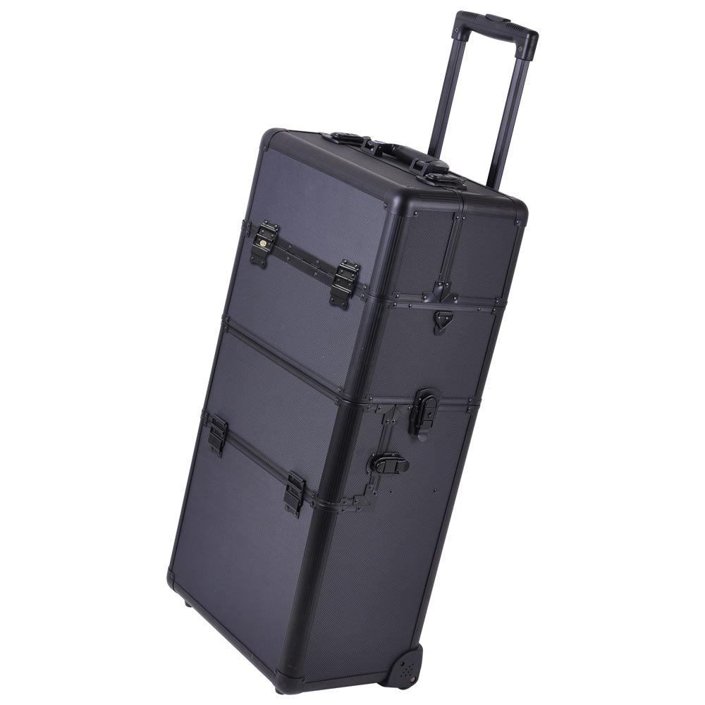 Amazoncom In Black Makeup Aluminum Rolling Cosmetic Train - Aluminum trolley case pro rolling makeup cosmetic organizer