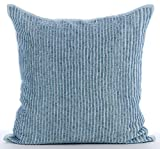 "Handmade Light Blue Pillow Shams, Striped Beaded Sparkly Glitter Pillow Shams, 24""x24"" Pillow Sham, Square Cotton Linen Shams, Modern Pillow Shams - Misty Blue"