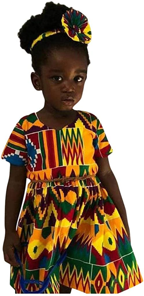 Toddler Kids Baby Girl Dashiki African Print Short Sleeve Princess Dress Clothes Girls Dress Up Costumes Baby Dresses Newborn