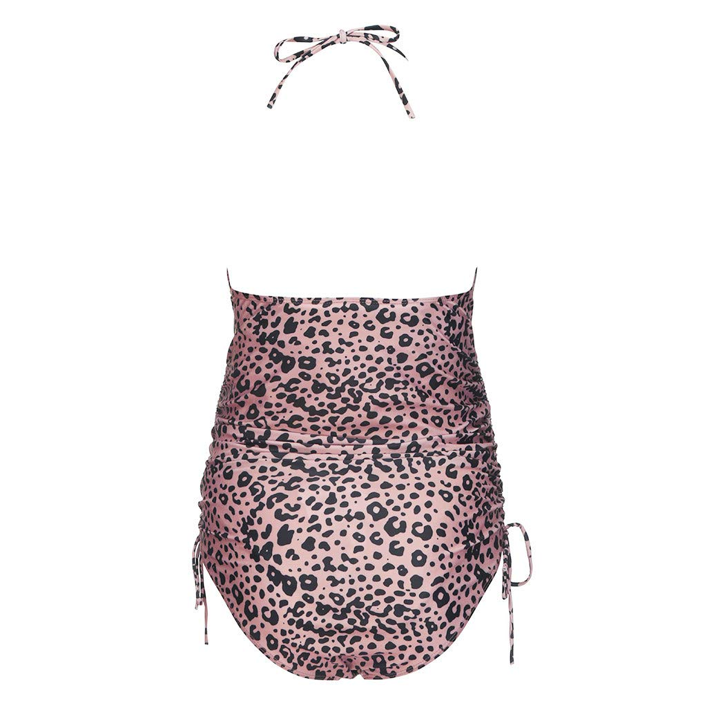 Maternity Bikini Leopard Print Halter V Neck Backless One Piece Pregnant Swimsuit Bathing Suit
