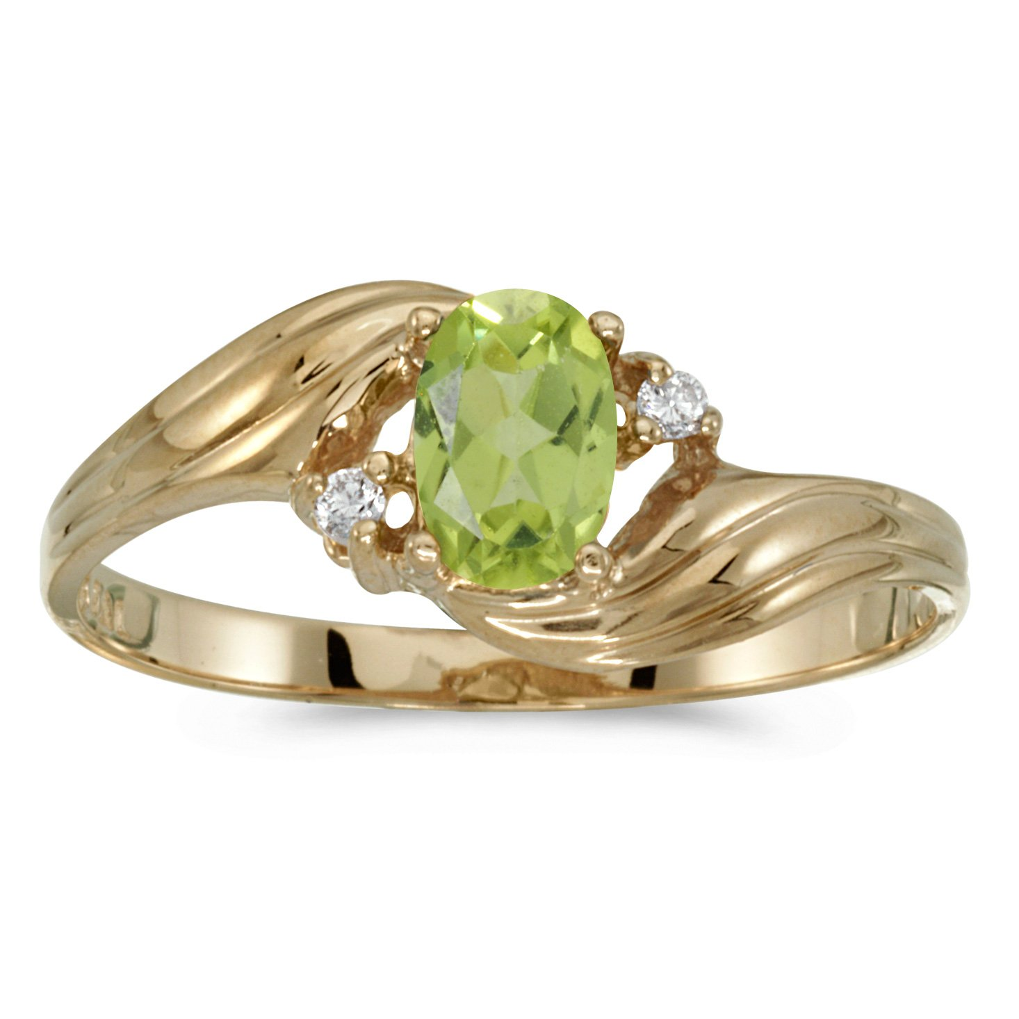 10k Yellow Gold Oval Peridot And Diamond Ring (Size 8)