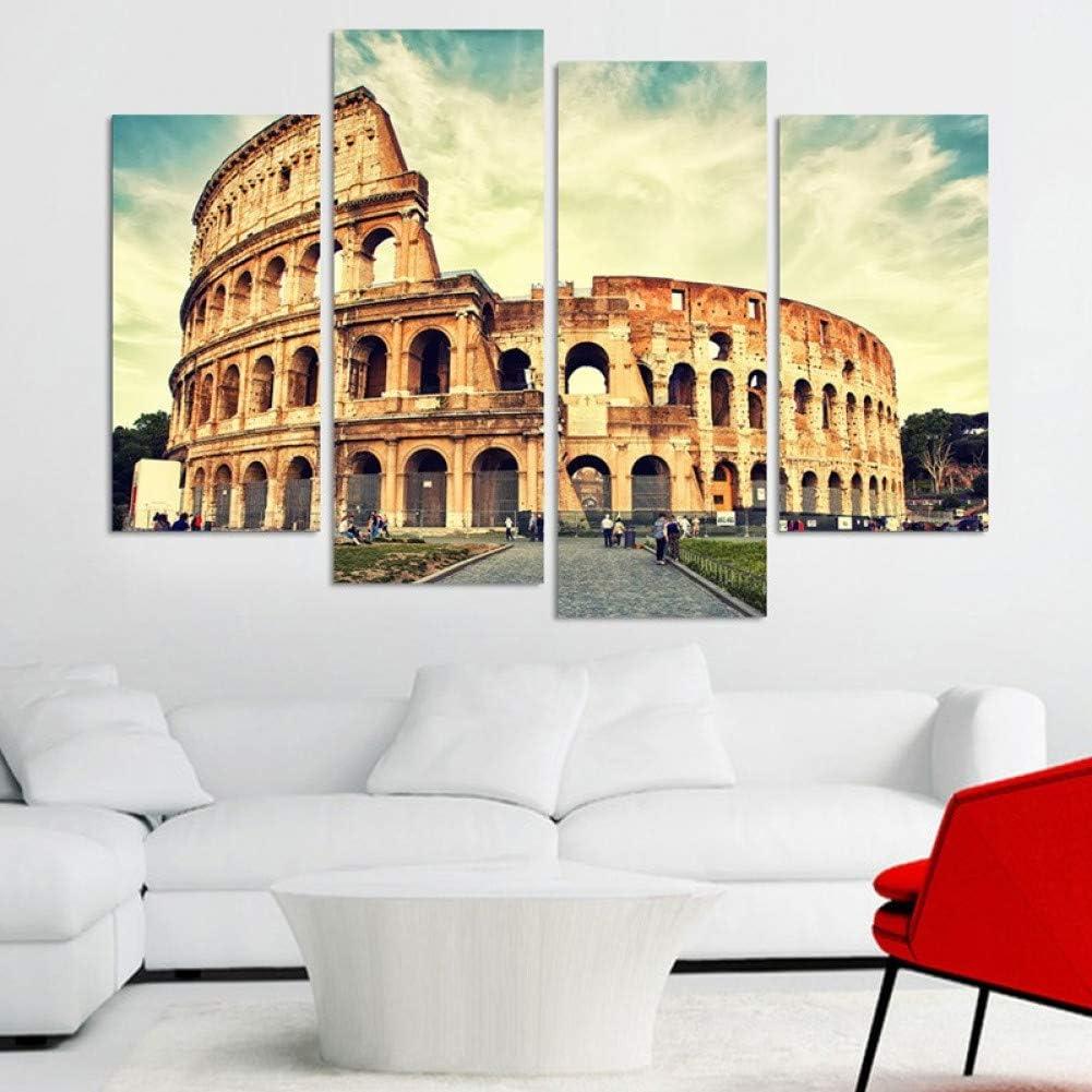 WOKCL Cuadro en Lienzo 4 Paneles Coliseo Romano Pintura Lienzo Imagen de Arte de Pared Decoración del Hogar para la Sala de Estar Impresión de la Lona Pintura Moderna