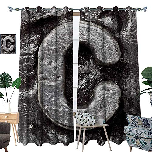 RenteriaDecor Letter C Room Darkening Wide Curtains Fused Elements Aluminum Style Minuscule C Words First Name Theme Background Artwork Customized Curtains W84 x L96 Silver