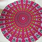 Round Beach Towel Yoga Mat mandala beach throw Round Table Cover Thin Tapestry Hippy Boho Gypsy Mandala Tablecloth Picnic Roundies Shawl (Red)