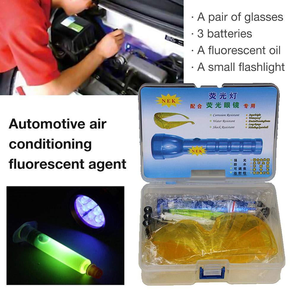 Lijuan Qin Car Leak Detection Tools Air Conditioning A//C Sealing System Kit Air Conditioning Car Repair Tool Detector LED Flashlight UV Protecting UV Paint Kit