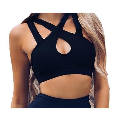 Coolred-Women Yoga Vest Tank Top Shirt Black Strap Cross Weekend Bra
