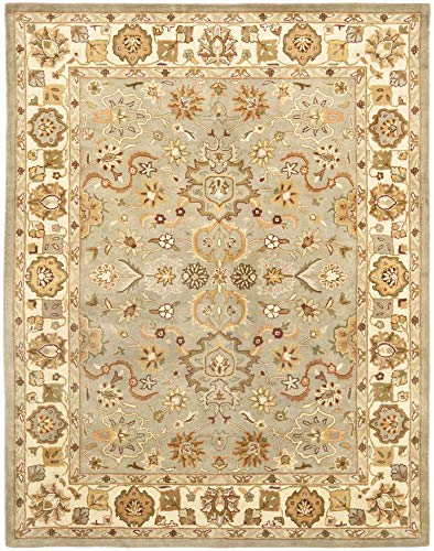Safavieh Heritage Collection HG959A Handcrafted Traditional Oriental Light Green and Beige Wool Area Rug (8