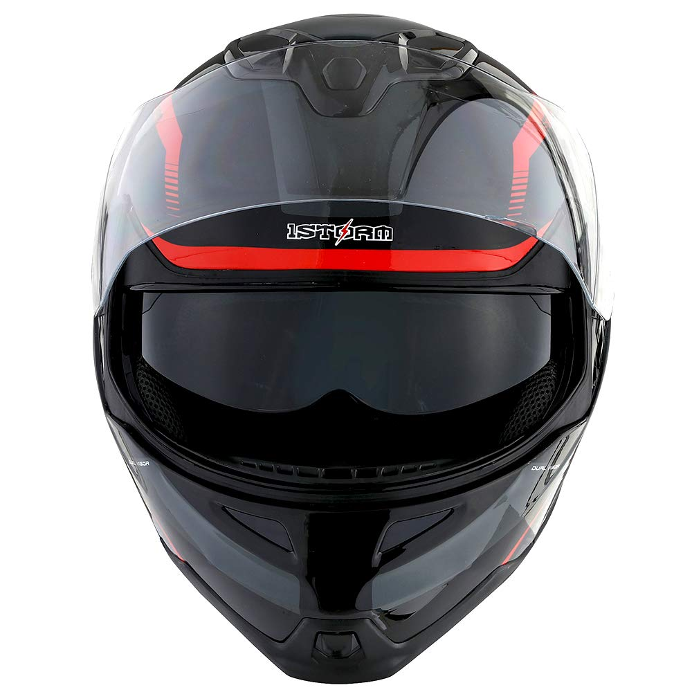 1Storm Motorcycle Street Bike Modular/Flip up Dual Visor/Sun Shield Full Face Helmet Storm Tron Red by 1Storm (Image #7)
