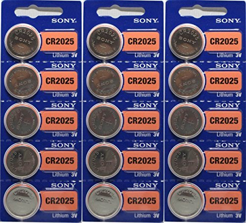 Price comparison product image 15 Genuine Sony CR2025 3v Lithium 2025 Coin Batteries Freshly Packed by Sony