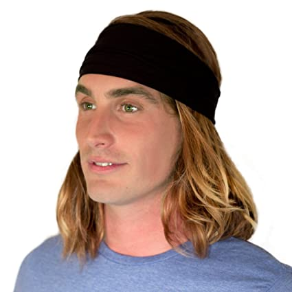 fc4ec8252b97 Kooshoo HU Black Headband For Men. Ecofriendly Black Bandana Headband for  Hiking