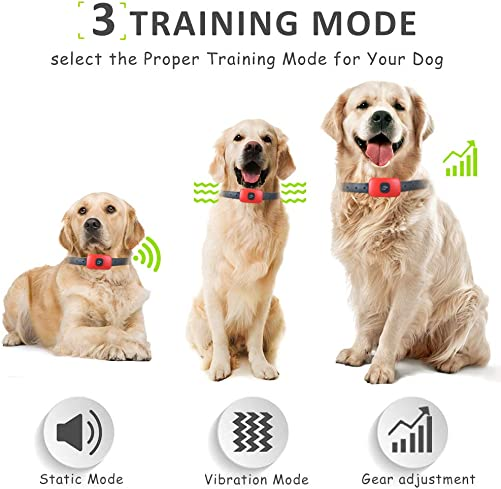 HOTLEA Dog Shock Collar with Remote, IP67 Waterproof Dog Training Collar, 3 Training Modes Suitable for Small Medium Large Dogs, up to 1300Ft Remote Range