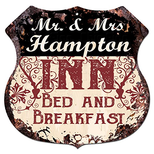 Mr   Mrs Hampton Inn Bed   Breakfast Custom Personalized Chic Tin Sign Vintage Retro 11 5 X 11 5  Shield Metal Plate Store Home Man Cave Decor Funny Gift Ideas