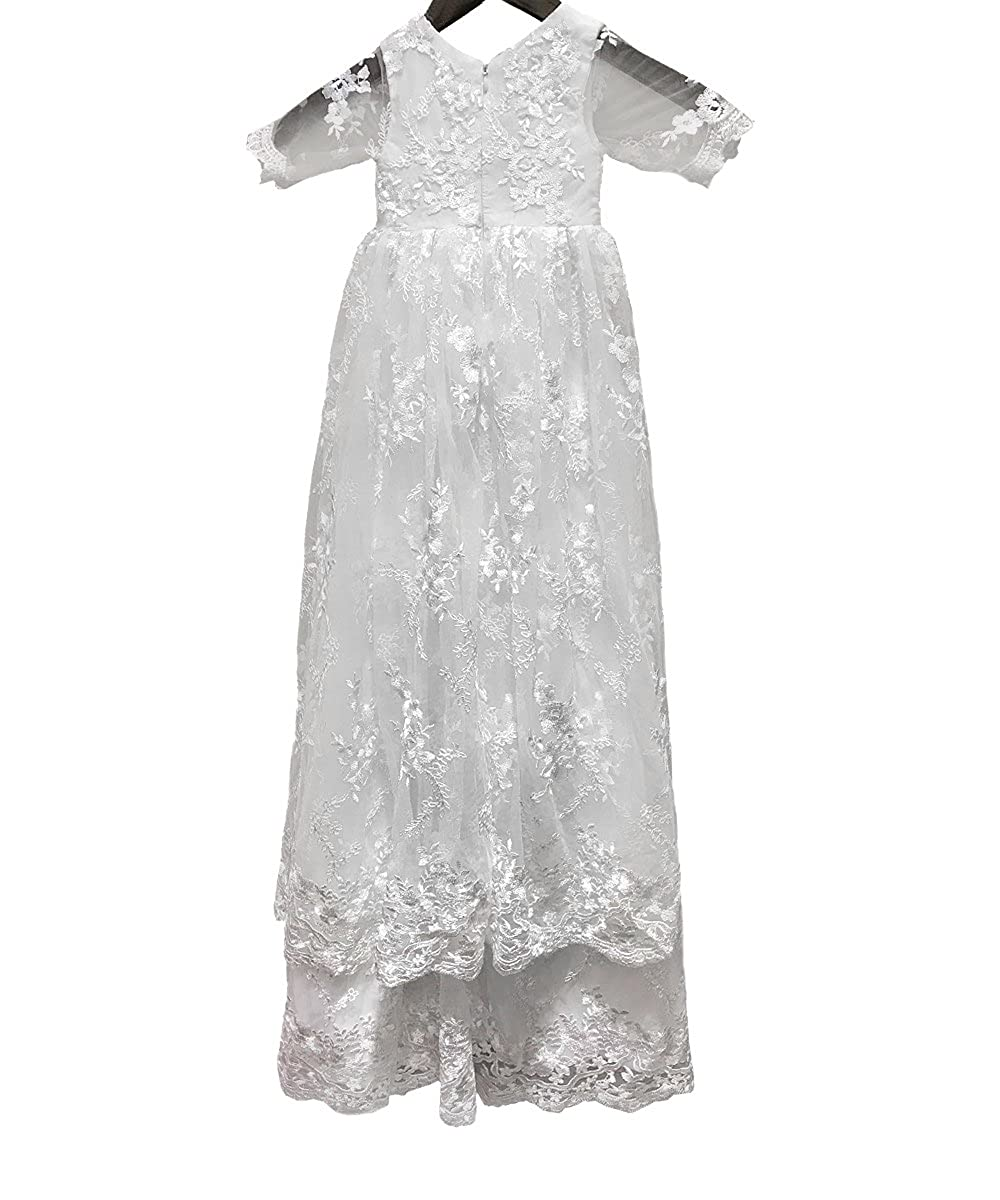 b652e0a1f Amazon.com: Baby Long Ivory Christening Gown Lace Baptism Dress with  Bonnet: Clothing