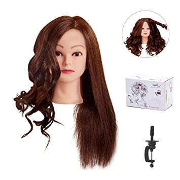 Synthetic Mannequin Head Female Hair Head Doll 22 Inches Mannequin Doll Head Hairdressing Training Heads Styling With Fiber Aesthetic Appearance Wig Stands