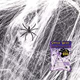 Giant Spider Web Halloween Decoration - Indoor & Outdoor Spooky Scary Cobwebs Stretch up to 200 Square Feet - 18.5 Sq Meter