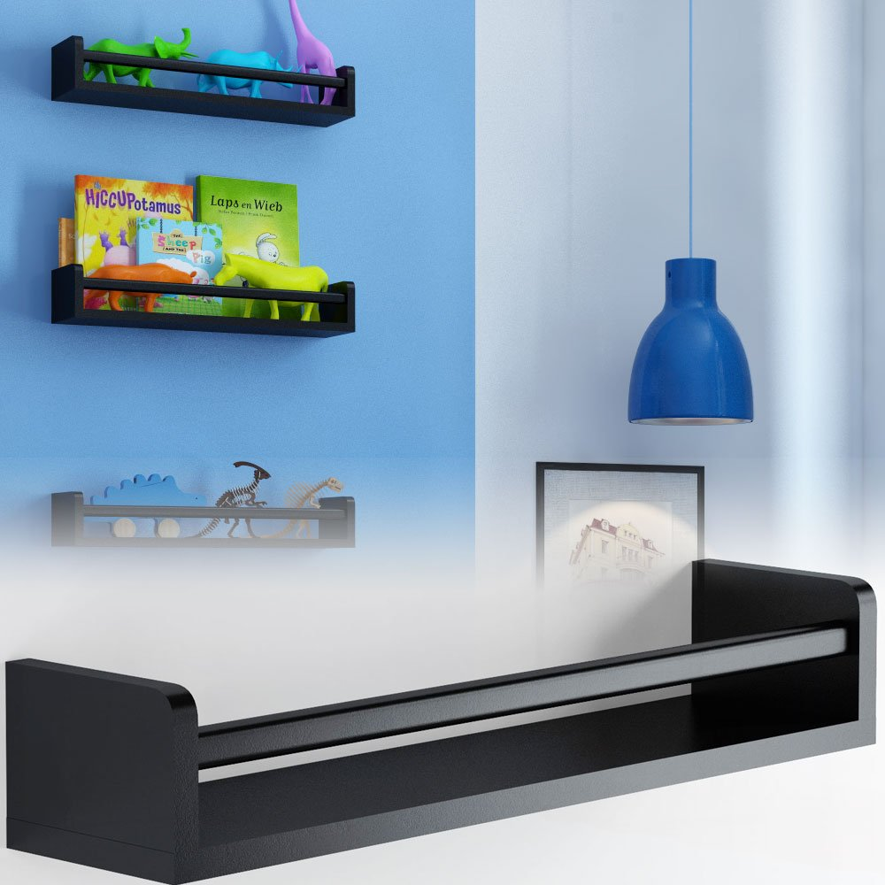 brightmaison Children's Wall Shelf Wood Black 17.5 Inch Multi-use Bookcase Toy Game Storage Display Organizer Ships Fully Assembled (Black)