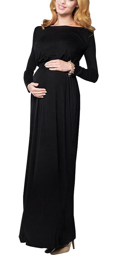Happy cherry - Vestido de Maternidad Ropa de Disfraz Elástica con Mangas Largas de Pre-mamá Accesorios para Disparar Fotos para Mujeres Embarazadas - Azul: ...