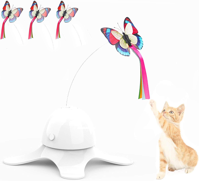 SHUANGJUN Juguete Interactivo de Mariposa para Gatos, Juguetes para Gatos Interactivos, con Tres Mariposas de Repuesto Juguete Electricos Giratoria de 360 °, para Gatos de Interior, Gatitos (Blanco)