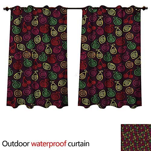 - cobeDecor Fruits Outdoor Ultraviolet Protective Curtains Apples Cherries Pears W55 x L45(140cm x 115cm)