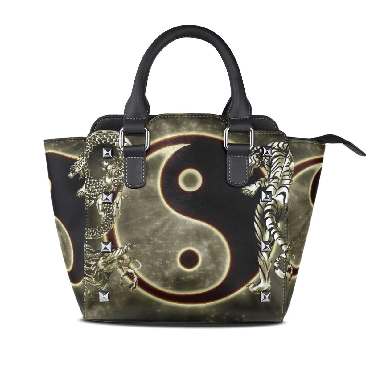 Design4 Handbag Bees And Flowers Genuine Leather Tote Rivet Bag Shoulder Strap Top Handle Women