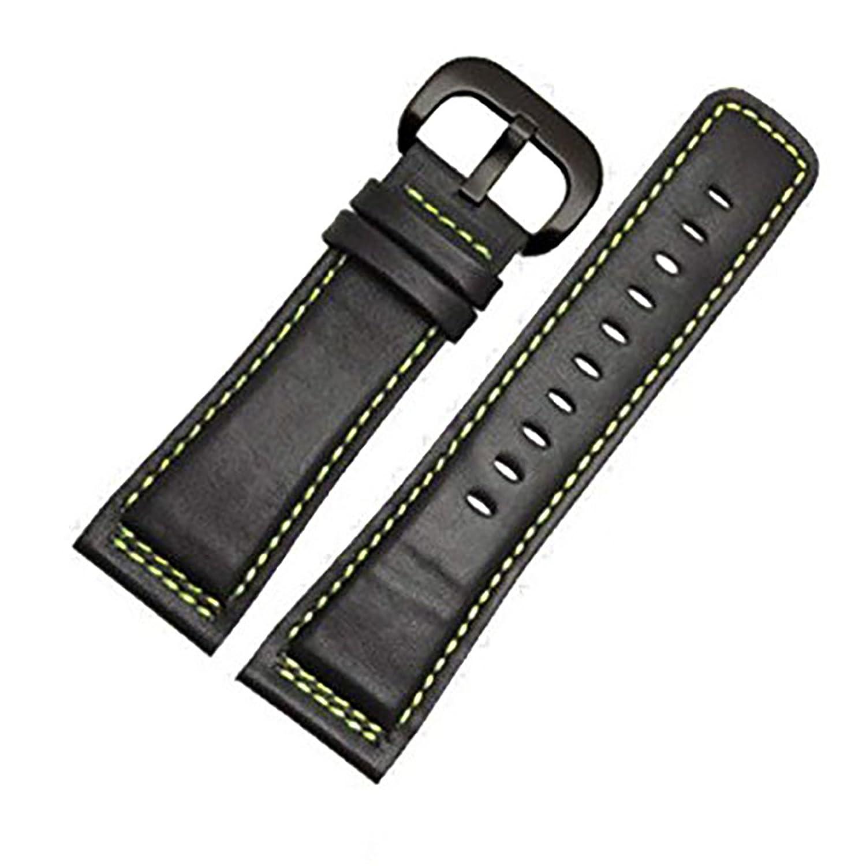 [エイト]腕時計ベルト 28mm ブラックグリーン-黒色PVD尾錠 レザー ELB086 [並行輸入品]  B01MYYWII1