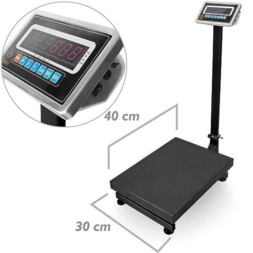 PrimeMatik - Balanza industrial de plataforma 30x40cm báscula 100Kg: Amazon.es: Electrónica