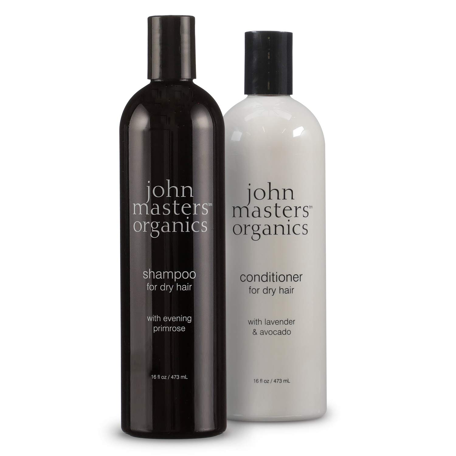 John Masters Organics - Shampoo for Dry Hair with Evening Primrose - 16 oz and Conditioner for Dry Hair with Lavender & Avocado - 16 oz (2 Pack)