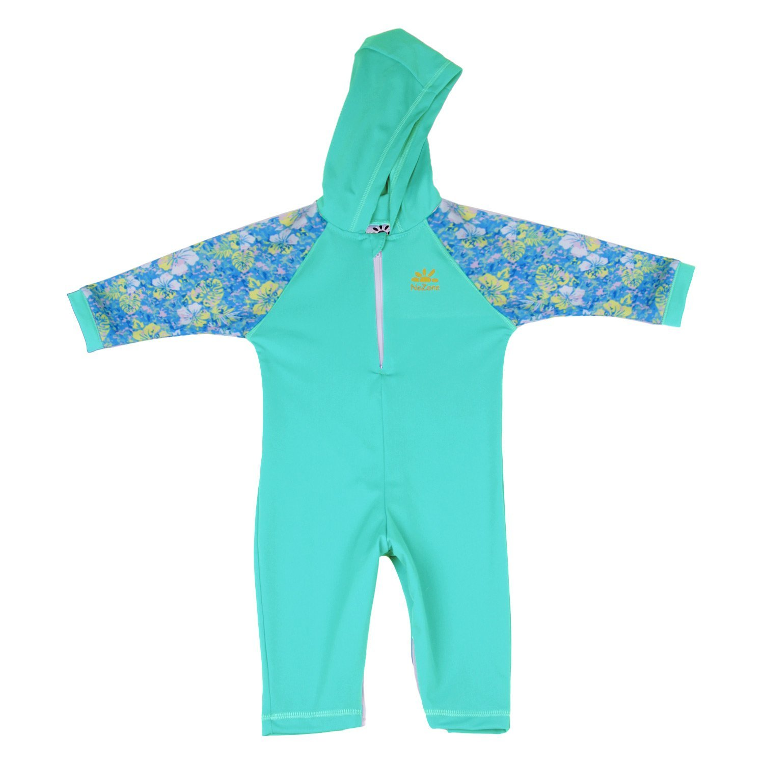 Nozone Kailua Hooded Baby Sun Protective Swimsuit in Aquatic/Aloha, 0-6 Months 2030ACPTP06