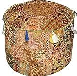 khushvin Beige Bohemian Indian Patchwork Ottoman Vintage Sari Patchwork Ottoman Traditional Handmade Pouf Indian Patchwork Foot stool Ottoman 22x14