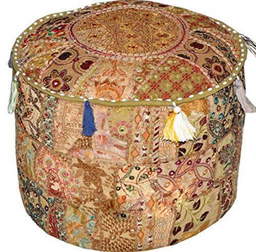 khushvin Beige Bohemian Indian Patchwork Ottoman Vintage Sari Patchwork Ottoman Traditional Handmade Pouf Indian Patchwork Foot stool Ottoman ()