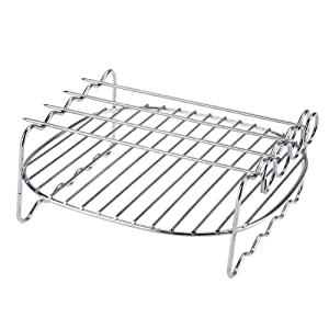 Replacement BBQ Stainless Steel Rack Double Layer Skewers Baking Non Stick Tray Premium Hot Air Fryer Accessories Kit for Philips Air Fryer