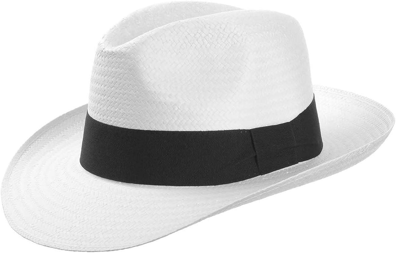 White Mountain - Sombrero de paja con cinta de lazo para el verano, color blanco o negro