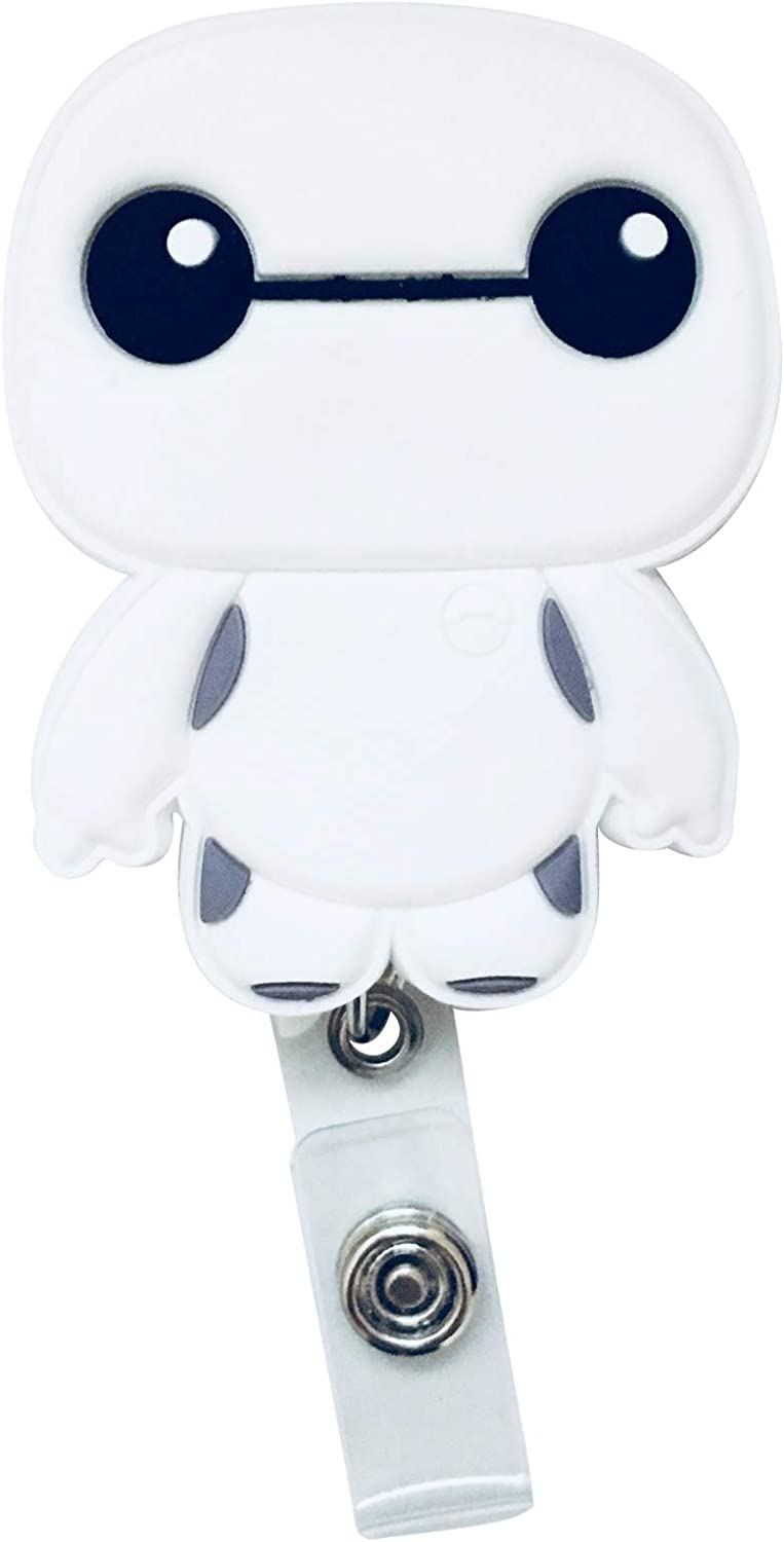 Swivels - Cartoon Retractable Badge Reel - Holder for ID and Name Tag with Improved Alligator Clip (White Robot)