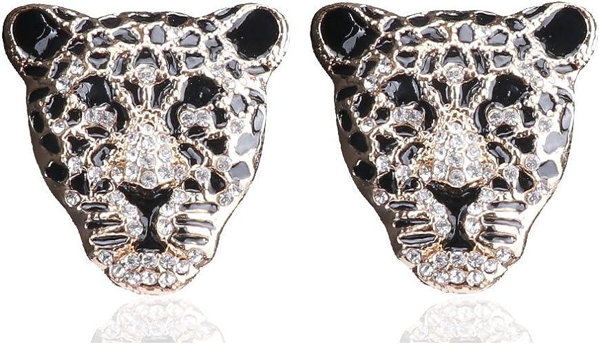 New 18k Gold Plated Leopard Design Pendant Necklace Stud Earrings Jewellery Set