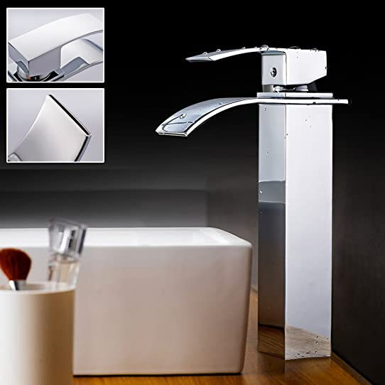 auralum® robinet de lavabo mitigeur cascade pour vasque de salle ... - Robinetterie Vasque Salle De Bain