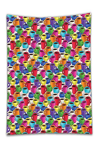 Interestlee Satin drill Tablecloth?Cartoon Colorful Vivid Vibrant Coffee House Inspired Modern Vintage Retro Mugs Cups Print Multicolor Dining Room Kitchen Rectangular Table Cover Home Decor
