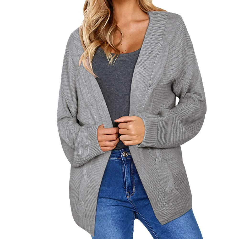 Womens Knit Cardigans,Gallity Winter Open Front Solid Pocket Cardigan Long Sleeve Sweater Coat (S, Gray)