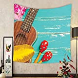 Gzhihine Custom tapestry Music Decor Tapestry Ukulele with Hawaii Style Background Wooden Classical Vacation Stylized for Bedroom Living Room Dorm 60 W X 40 L