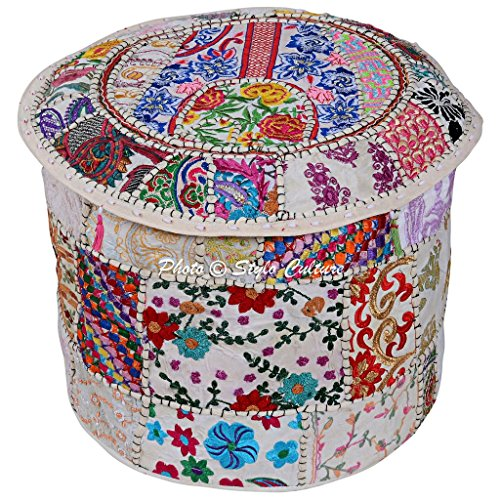 Stylo Culture Indian Footstool Cotton Bohemian Decor Round Stool White Patchwork Embroidered Ottoman Pouf Cover Floral Tuffet Chair 45 cm Floor Cushion Cover Ethnic Decor