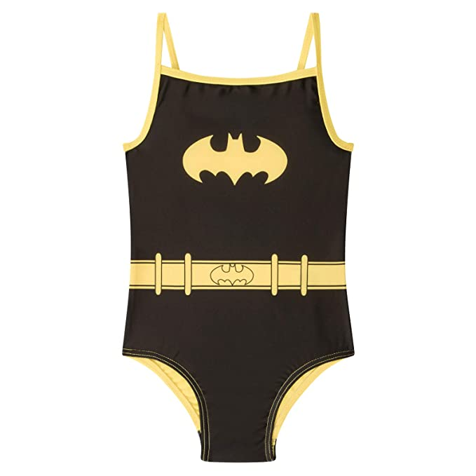 c3147d7d6e25b DC Comics Batman Official Gift Girls Kids Swim Suit Costume Black 2-3 Years