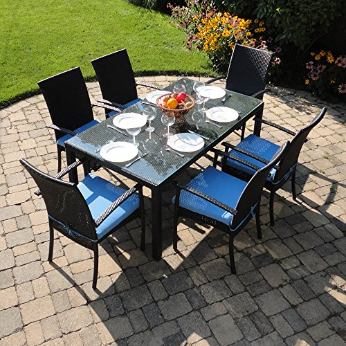 Turks Outdoor Wicker Patio Furniture Dining Set with Clea...