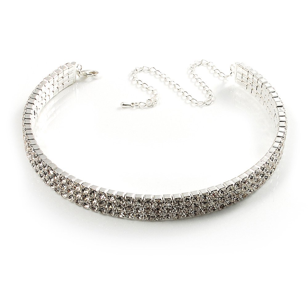3-Row Swarovski Crystal Choker Necklace (Silver Clear) by Avalaya   Amazon.co.uk  Jewellery 88f66f451d