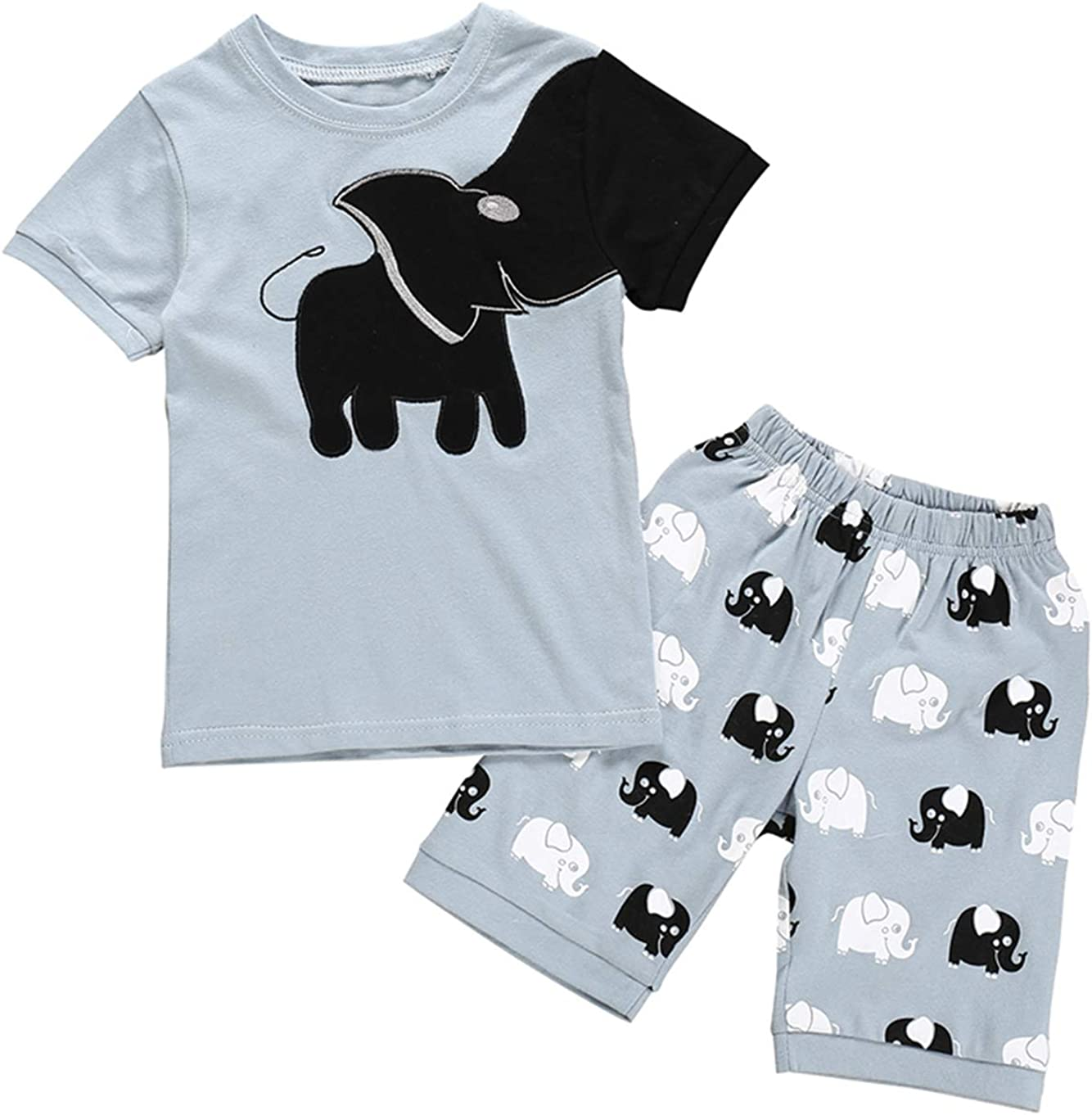 Casual Striped Pants Suit Fashion Cartoon Print Cloth Summer Baby Boy T Shirts