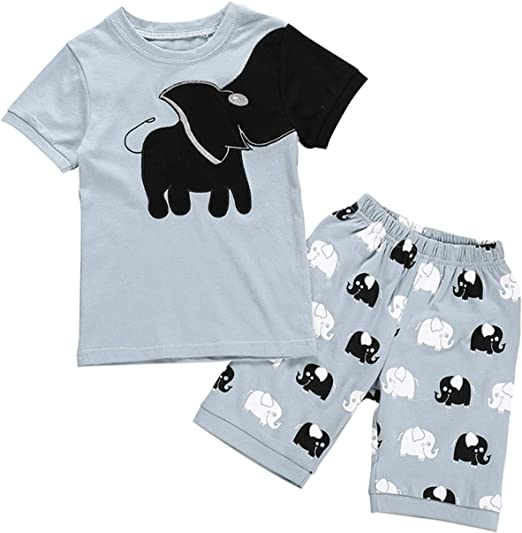 2Pcs Toddler Baby Boys Elephant T-Shirt Tops Shorts Kids Summer Casual Outfits