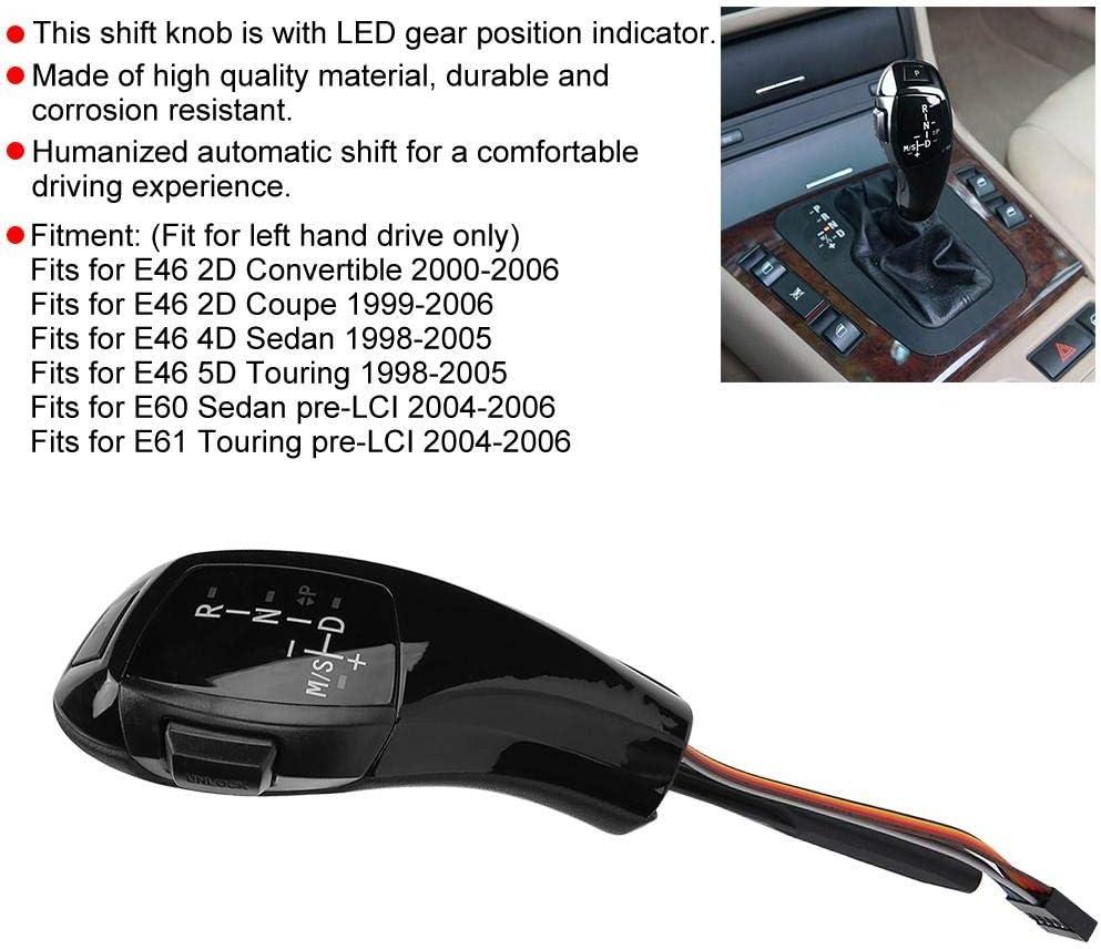 Akozon Schaltknauf Elektrische Linkslenker Automatische Led Kopfschaltung Nachrüstsatz Passend Für E46 E60 E61 Refit Für F30 Style Glänzend Schwarz Auto