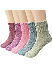 5 Pairs Womens Vintage Style Winter Warm Thick Knit Wool Cozy Crew Socks