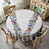 """Rank-T Round Tablecloth 55"""" Inch Round Letter V,Butterfly Font Lepidoptera Tropical Animals Spring"""