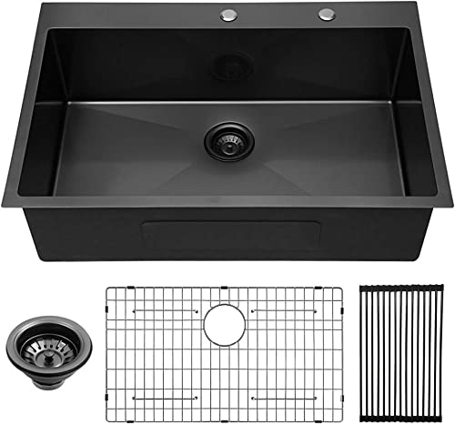 Lordear 33 inch Kitchen Sink Drop-in 16 Gauge Gunmetal Matte Black R10 Tight Radius Stainless Steel Round Corner Topmount Single Bowl Kitchen Sink