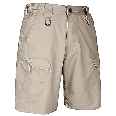 HARD LAND Men's 9.5 Inches Urban Tactical Shorts Waterproof Ripstop Teflon Elastic Waist Cargo Work Shorts Hiking: Clothing